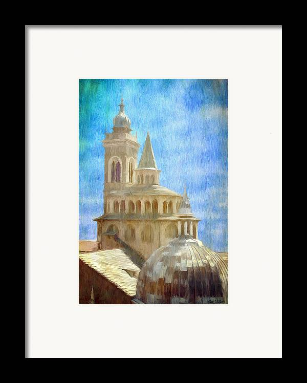 Above Framed Print featuring the painting Citta Alta From Above by Jeff Kolker
