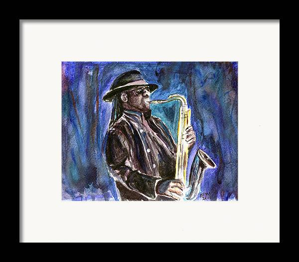 Clarence Clemons Framed Print featuring the painting Clarence Clemons by Clara Sue Beym