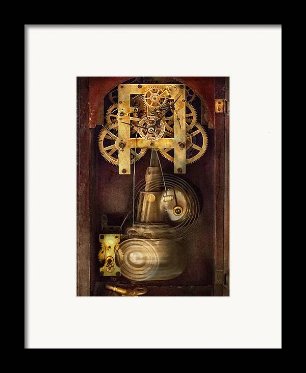 Suburbanscenes Framed Print featuring the photograph Clockmaker - The Mechanism by Mike Savad