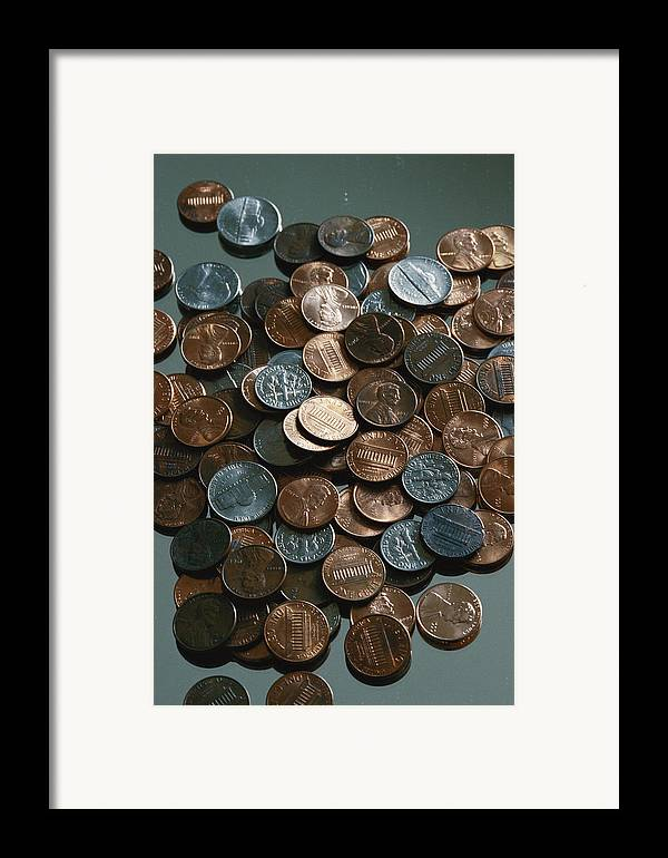 american Coins Framed Print featuring the photograph Close View Of United States Coins by Vlad Kharitonov