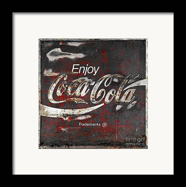 Coca Cola Framed Print featuring the photograph Coca Cola Grunge Sign by John Stephens