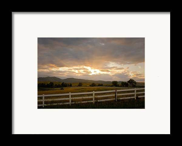 Bo Insogna Framed Print featuring the photograph Colorado Rocky Mountain Country Sunset by James BO Insogna