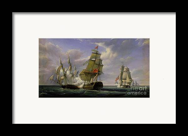 Combat Framed Print featuring the painting Combat Between The French Frigate La Canonniere And The English Vessel The Tremendous by Pierre Julien Gilbert