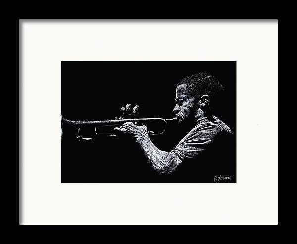 Musician Framed Print featuring the pastel Contemporary Jazz Trumpeter by Richard Young