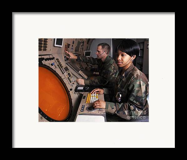 Horizontal Framed Print featuring the photograph Control Technicians Use Radarscopes by Stocktrek Images