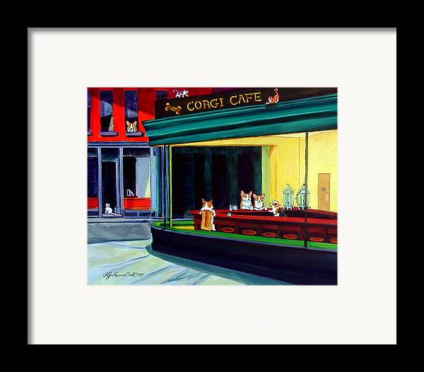Pembroke Welsh Corgi Framed Print featuring the painting Corgi Cafe After Hopper by Lyn Cook