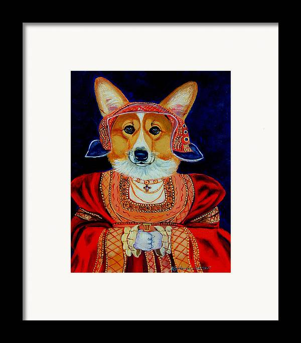 Pembroke Welsh Corgi Framed Print featuring the painting Corgi Queen by Lyn Cook