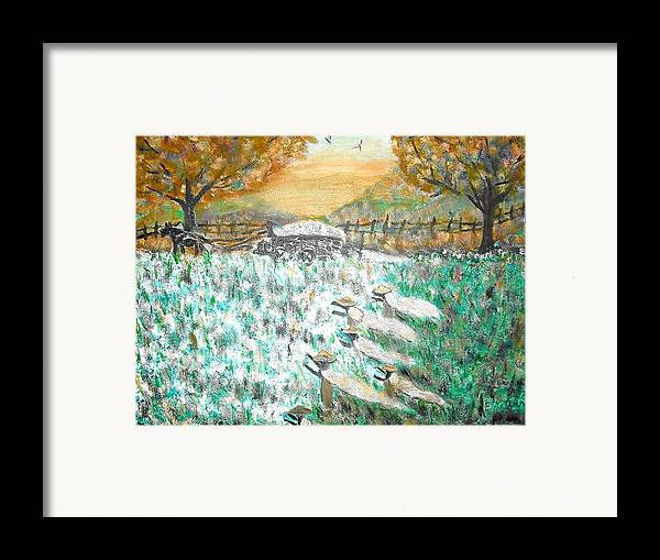 Cotton Framed Print featuring the painting Cotton Pickers by BJ Abrams
