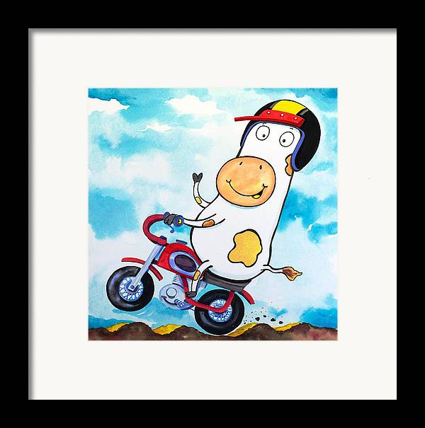Cow Framed Print featuring the painting Cow Motocross by Scott Nelson