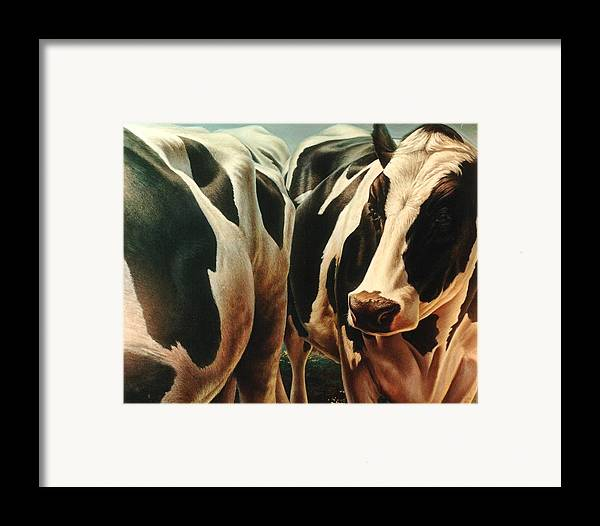 Cows Framed Print featuring the painting Cows 1 by Hans Droog