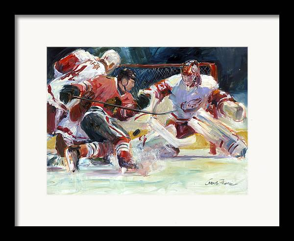 Sports Chicago Blackhawks Detroit Red Wings Hockey Goalmouth Action Framed Print featuring the painting Crashing The Net by Gordon France