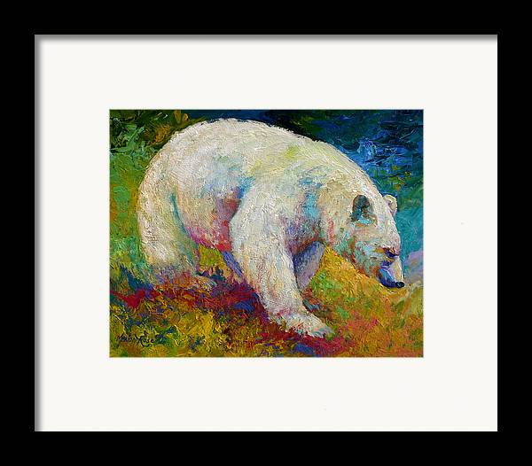 Western Framed Print featuring the painting Creamy Vanilla - Kermode Spirit Bear Of Bc by Marion Rose