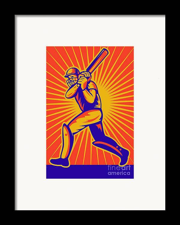 Cricket Framed Print featuring the digital art Cricket Sports Batsman Batting by Aloysius Patrimonio