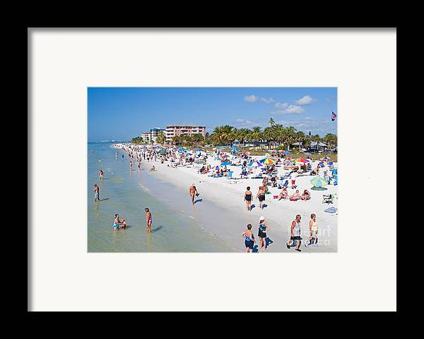 Beach Framed Print featuring the photograph Crowd On A Summer Beach In Ft Meyers Florida by ELITE IMAGE photography By Chad McDermott