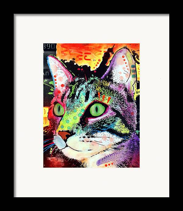 Feline Framed Print featuring the painting Curiosity Cat by Dean Russo