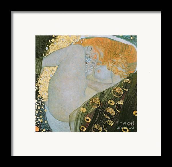 Danae Framed Print featuring the painting Danae by Gustav Klimt