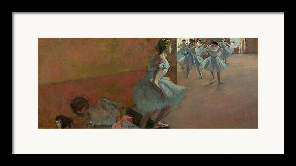 Dancers Framed Print featuring the painting Dancers Ascending A Staircase by Edgar Degas