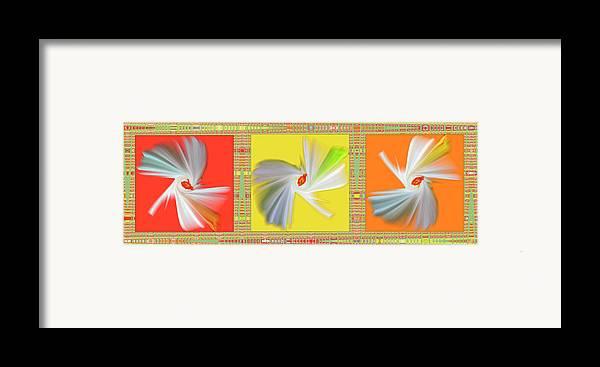 Abstract Framed Print featuring the digital art Dancing Flower Trio by Ben and Raisa Gertsberg