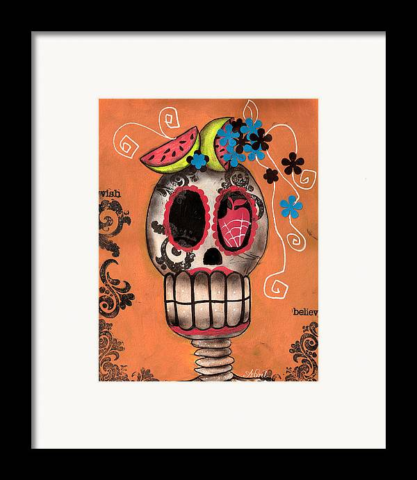 Day Of The Dead Skeleton Framed Print featuring the painting Day Of The Dead Watermelon by Abril Andrade Griffith