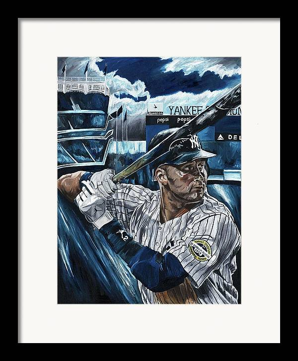 Derek Jeter New York Yankees Baseball Mlb Shortstop Hitter David Courson Painting Framed Print featuring the painting Derek Jeter by David Courson