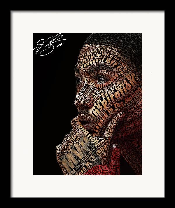 Derrick Rose Typeface Portrait Framed Print featuring the digital art Derrick Rose Typeface Portrait by Dominique Capers