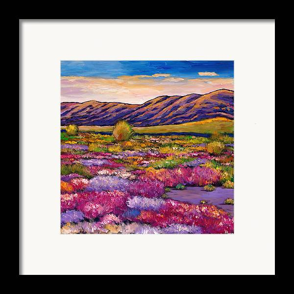 Arizona Framed Print featuring the painting Desert In Bloom by Johnathan Harris