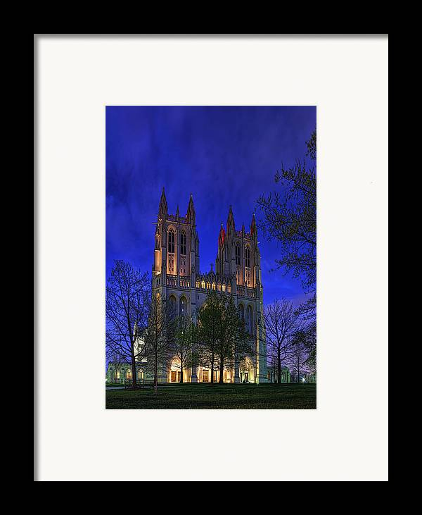 Metro Framed Print featuring the digital art Digital Liquid - Washington National Cathedral After Sunset by Metro DC Photography