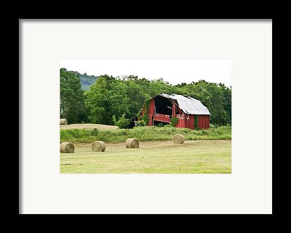 Old Framed Print featuring the photograph Dilapidated Old Red Barn by Douglas Barnett