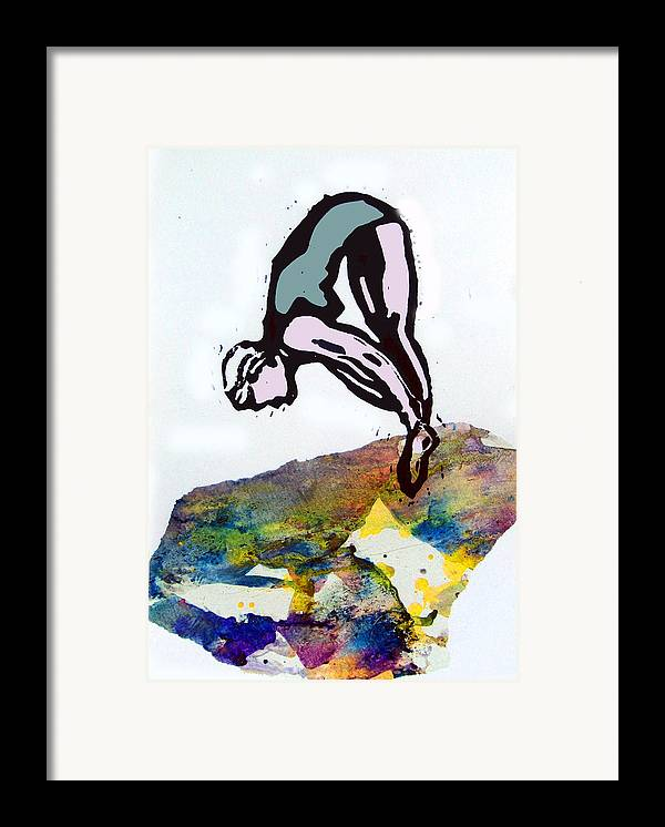 Lino Framed Print featuring the mixed media Dive - Evening Pool by Adam Kissel