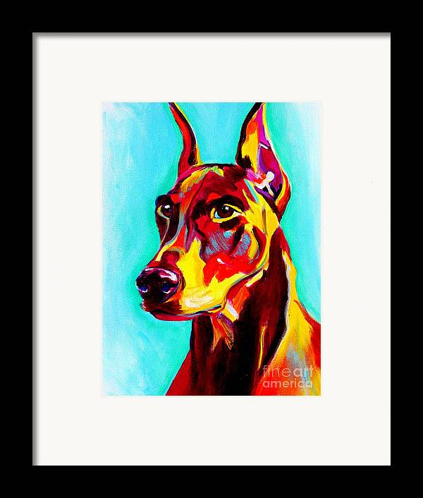 Dog Framed Print featuring the painting Doberman - Prince by Alicia VanNoy Call