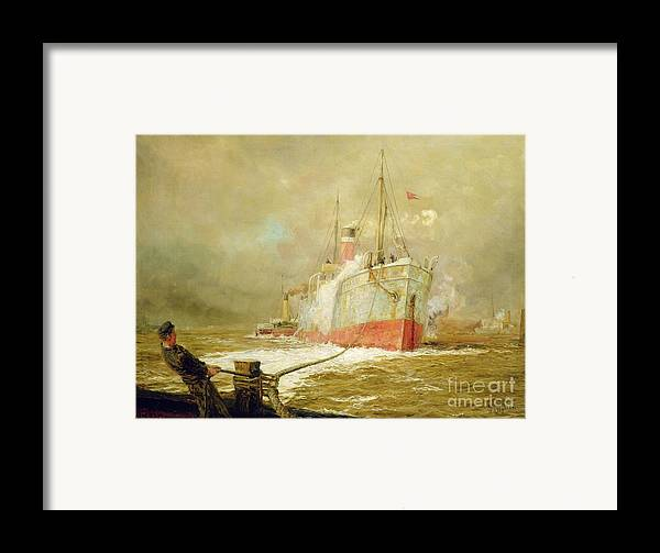 Docking Framed Print featuring the painting Docking A Cargo Ship by William Lionel Wyllie