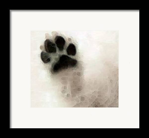 Dog Framed Print featuring the painting Dog Art - I Paw You by Sharon Cummings
