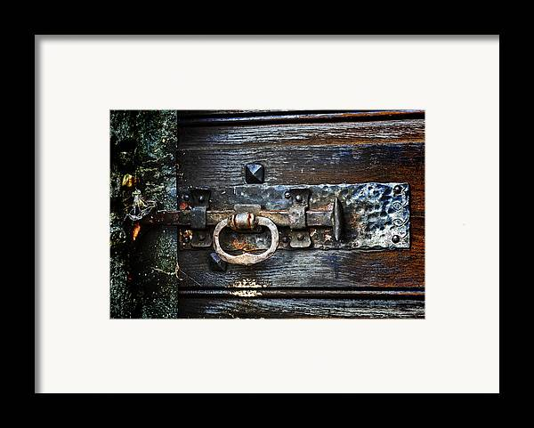 Door Latches Framed Print featuring the photograph Door Latch by Joana Kruse