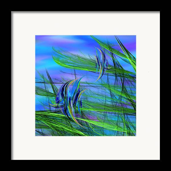 Abstract Impressionism Framed Print featuring the digital art Dos Pescados En Salsa Verde by Wally Boggus