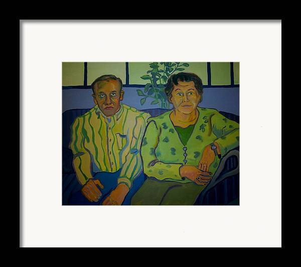 Older Couple Framed Print featuring the painting Dottie And Jerry by Debra Robinson