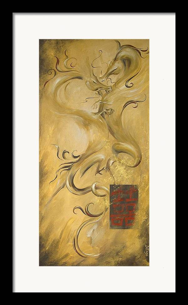 Asian Dragons Chinese Kanji Symbol Love Passion Couple Happiness Mystical Good Luck Good Fortune Framed Print featuring the painting Dragon Double Happiness by Dina Dargo