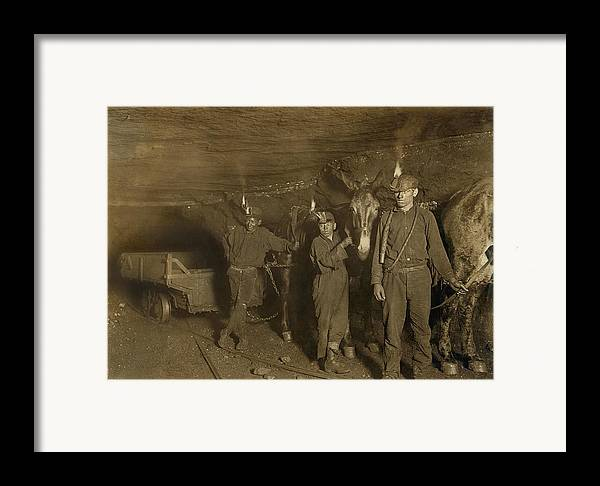 History Framed Print featuring the photograph Drivers And Mules With Young Laborers by Everett