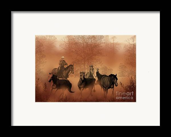 Cowboy Framed Print featuring the painting Driving The Herd by Corey Ford