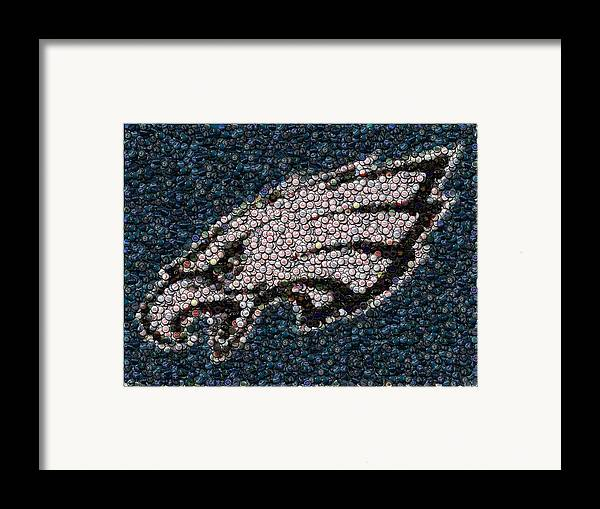 Philly Framed Print featuring the mixed media Eagles Bottle Cap Mosaic by Paul Van Scott