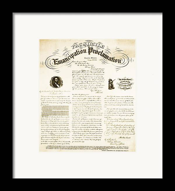Emancipation Proclamation Framed Print featuring the photograph Emancipation Proclamation by Photo Researchers