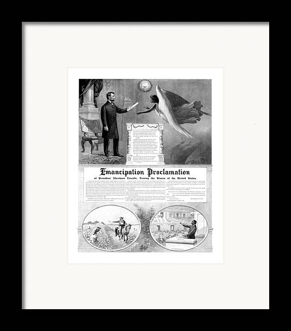 Emancipation Proclamation Framed Print featuring the mixed media Emancipation Proclamation by War Is Hell Store