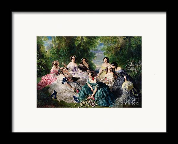 Empress Framed Print featuring the painting Empress Eugenie Surrounded By Her Ladies In Waiting by Franz Xaver Winterhalter