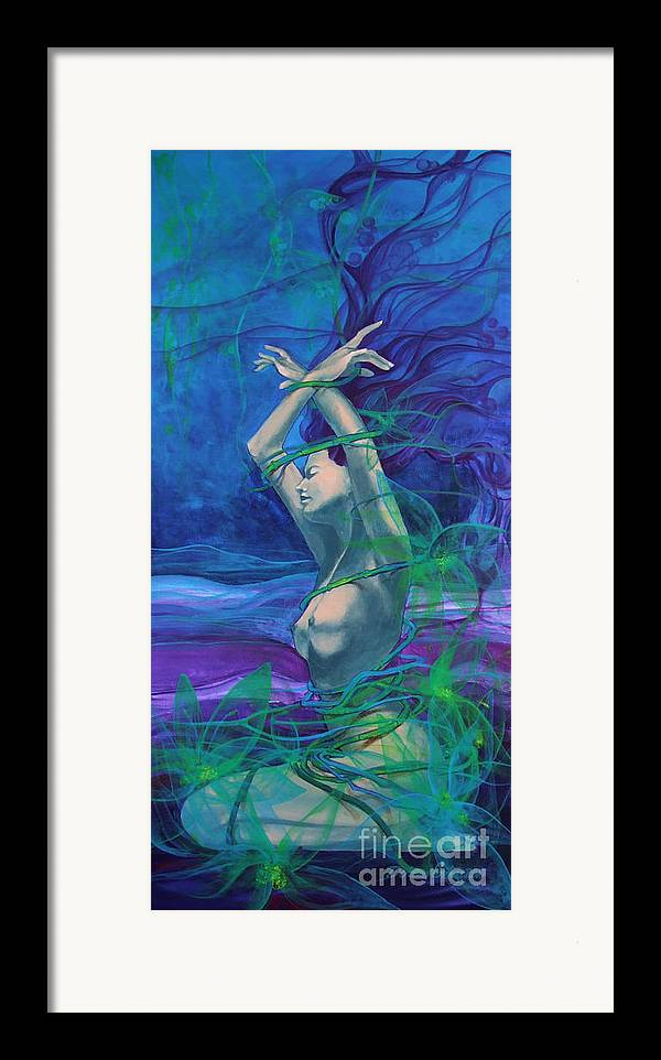 Art Framed Print featuring the painting Entangled In Your Love... by Dorina Costras
