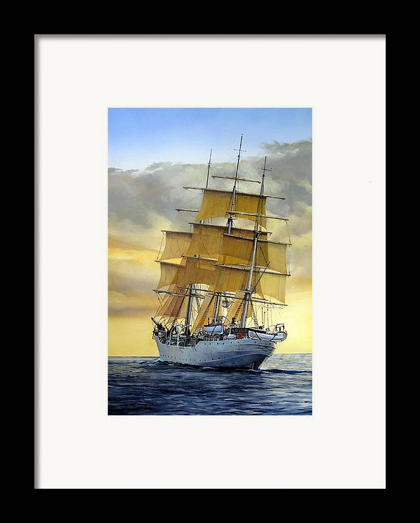 Sailing Ship Framed Print featuring the painting Eventide by Tim Johnson