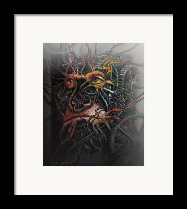 Watercolor Framed Print featuring the painting Face Machine by Frank Robert Dixon