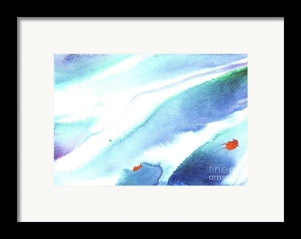 Fallen Leaves In An Autumn Stream-a Watercolor Painting Framed Print featuring the painting Fallen Leaves by Mui-Joo Wee