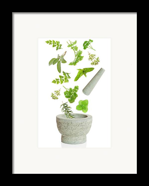 Pestle Framed Print featuring the photograph Falling Herbs by Amanda And Christopher Elwell