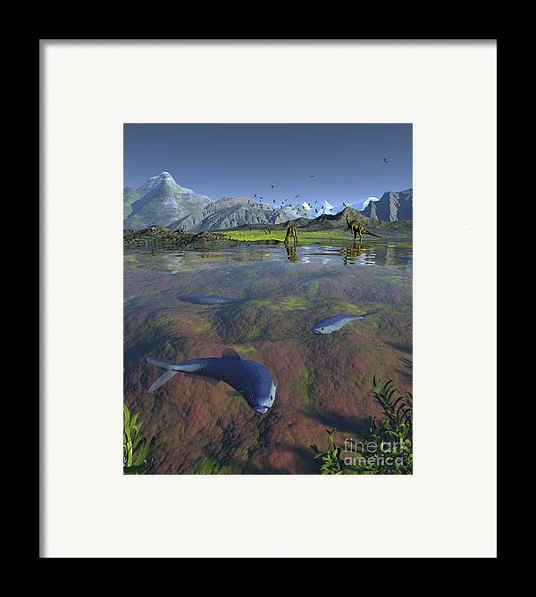 Earth Framed Print featuring the digital art Fanged Enchodus Predatory Fish by Walter Myers