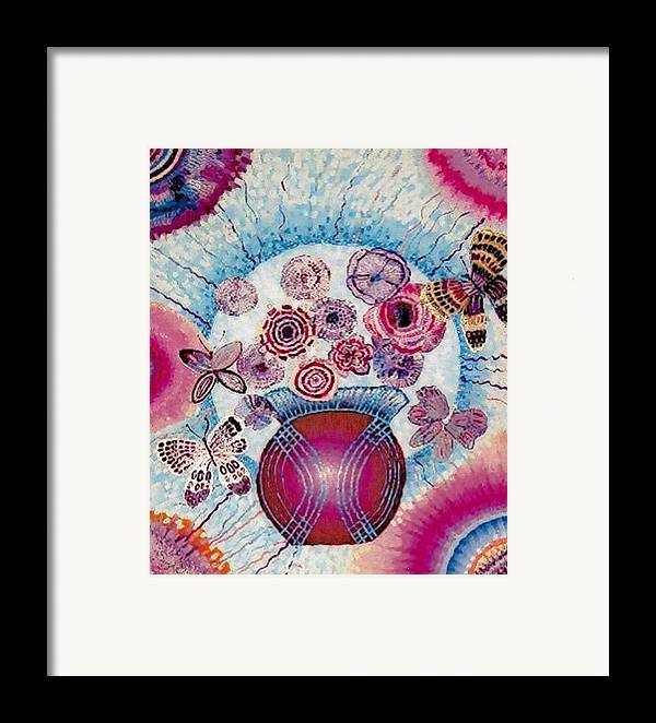 Flowers Framed Print featuring the painting Fantasy Flowers by Brenda Adams