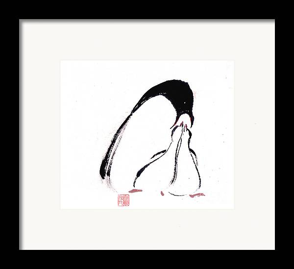 An Adult Penguin Feeding The Babies. This Is A Contemporary Chinese Ink And Color On Rice Paper Painting With Simple Zen Style Brush Strokes.  Framed Print featuring the painting Feeding by Mui-Joo Wee